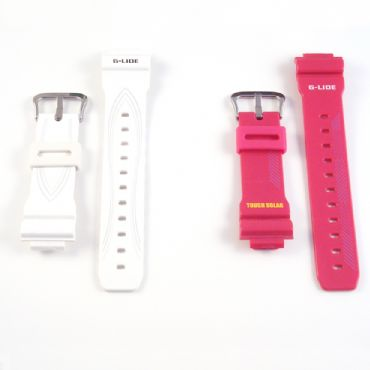 Original Ladies Watch Band Strap Casio Baby G BGA130 Red White Rubber